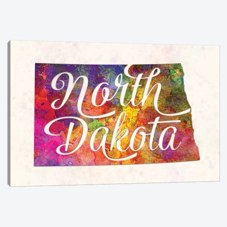 North Dakota US State In Watercolor Text Cut Out Canvas Print #PUR544} by Paul Rommer Canvas Artwork