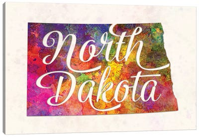 North Dakota US State In Watercolor Text Cut Out Canvas Art Print