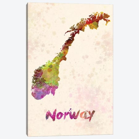 Norway In Watercolor Canvas Print #PUR545} by Paul Rommer Canvas Art