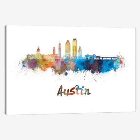 Austin Skyline In Watercolor II Canvas Print #PUR54} by Paul Rommer Canvas Artwork