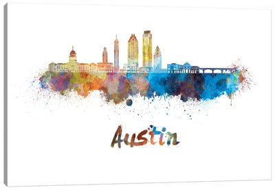 Austin Skyline In Watercolor II Canvas Art Print