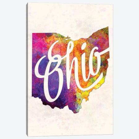 Ohio US State In Watercolor Text Cut Out Canvas Print #PUR550} by Paul Rommer Canvas Artwork