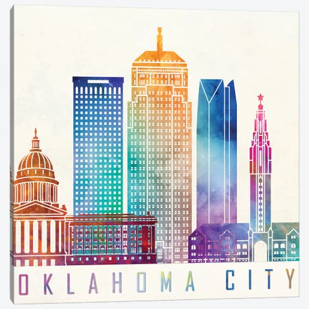 Oklahoma City Watercolor Landmark Canvas Print #PUR551} by Paul Rommer Canvas Art