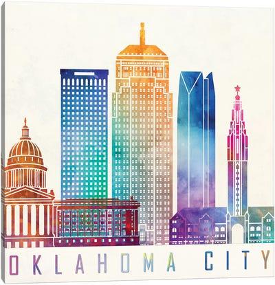 Oklahoma City Watercolor Landmark Canvas Art Print