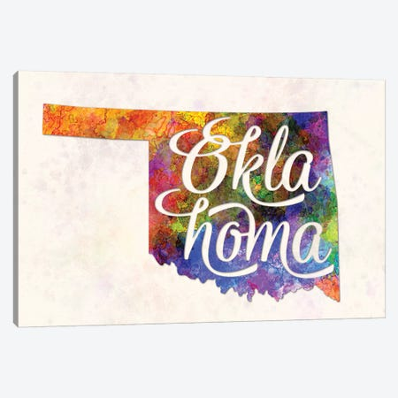 Oklahoma US State In Watercolor Text Cut Out Canvas Print #PUR552} by Paul Rommer Canvas Artwork
