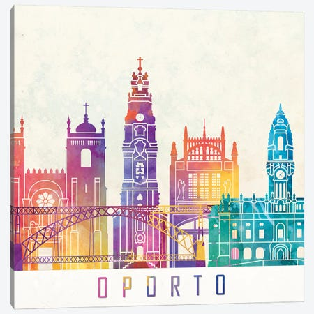 Oporto Landmarks Watercolor Poster Canvas Print #PUR556} by Paul Rommer Canvas Print