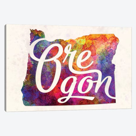 Oregon US State In Watercolor Text Cut Out 3-Piece Canvas #PUR557} by Paul Rommer Canvas Print