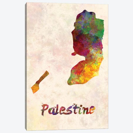 Palestine In Watercolor Canvas Print #PUR559} by Paul Rommer Canvas Wall Art