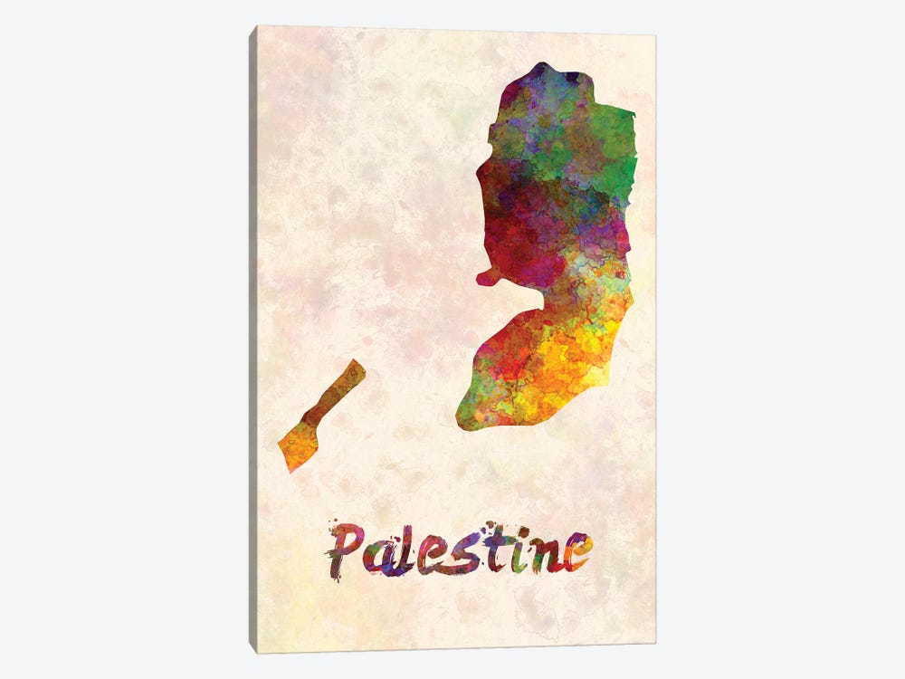 Palestine In Watercolor by Paul Rommer 1-piece Canvas Art Print