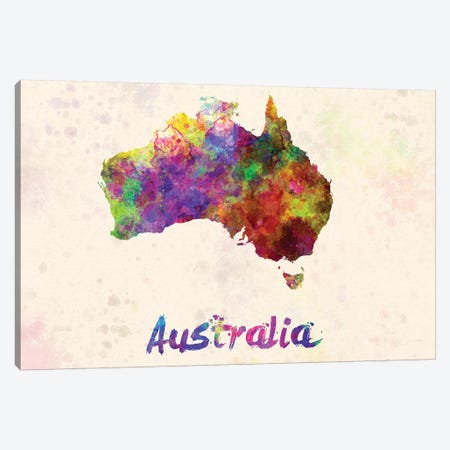 Australia In Watercolor Canvas Print #PUR55} by Paul Rommer Canvas Artwork