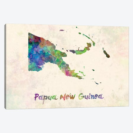 Papua New Guinea In Watercolor Canvas Print #PUR561} by Paul Rommer Canvas Print