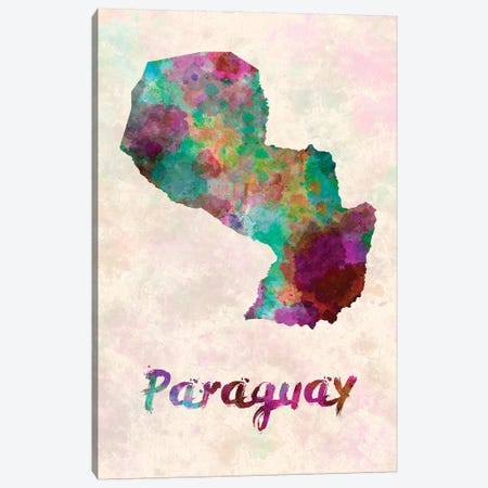 Paraguay In Watercolor Canvas Print #PUR562} by Paul Rommer Canvas Art Print