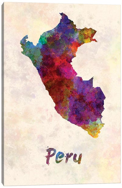 Peru In Watercolor Canvas Art Print