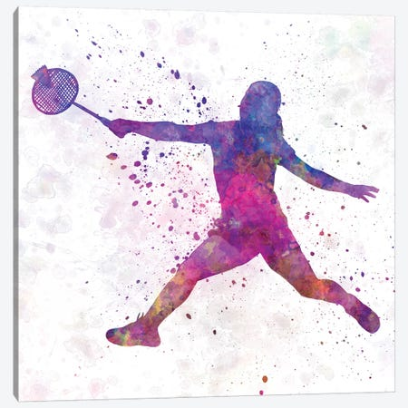 Badminton Female Silhouette I Canvas Print #PUR56} by Paul Rommer Canvas Artwork