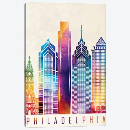 Philadelphia Landmarks Watercolor Poster 3-Piece Canvas #PUR572} by Paul Rommer Canvas Wall Art