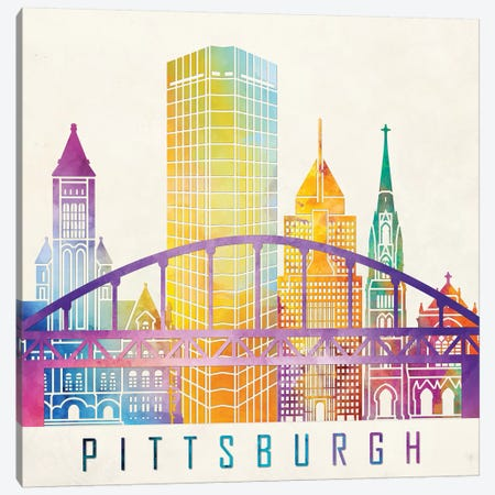 Pittsburgh Landmarks Watercolor Poster Canvas Print #PUR576} by Paul Rommer Canvas Art Print