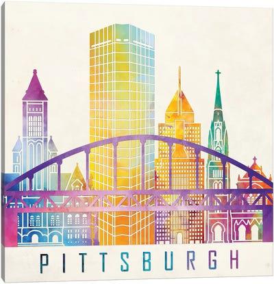 Pittsburgh Landmarks Watercolor Poster Canvas Art Print