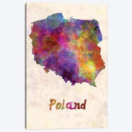 Poland In Watercolor Canvas Print #PUR578} by Paul Rommer Canvas Wall Art