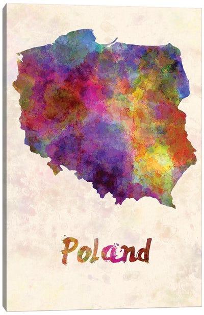 Poland In Watercolor Canvas Art Print
