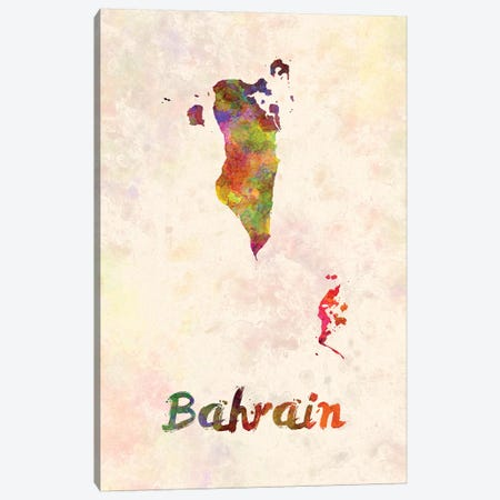 Bahrain In Watercolor Canvas Print #PUR57} by Paul Rommer Canvas Artwork