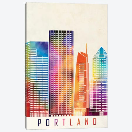 Portland Landmarks Watercolor Poster Canvas Print #PUR587} by Paul Rommer Canvas Artwork