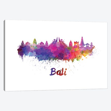 Bali Skyline In Watercolor Canvas Print #PUR58} by Paul Rommer Canvas Print