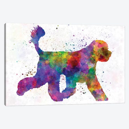 Portuguese Water Dog In Watercolor Canvas Print #PUR591} by Paul Rommer Canvas Wall Art