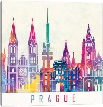 Prague Landmarks Watercolor Poster Canvas Art Print