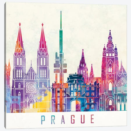 Prague Landmarks Watercolor Poster Canvas Print #PUR593} by Paul Rommer Canvas Wall Art