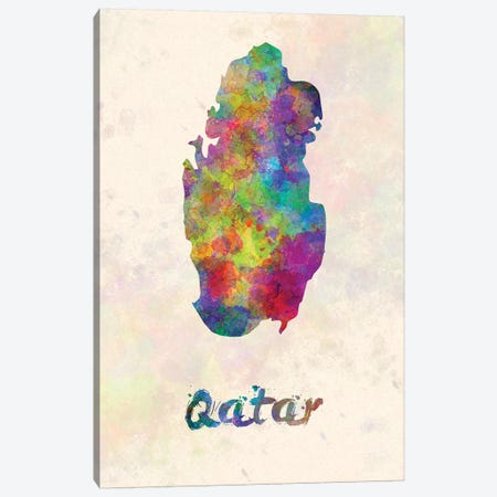 Qatar In Watercolor Canvas Print #PUR599} by Paul Rommer Canvas Wall Art