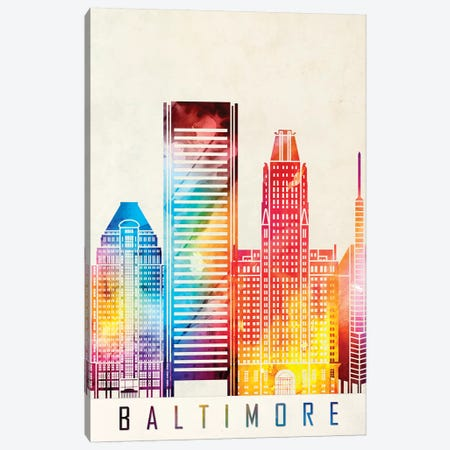 Baltimore Landmarks Watercolor Poster Canvas Print #PUR59} by Paul Rommer Canvas Art Print
