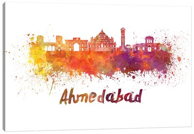 Ahmedabad Skyline In Watercolor Canvas Art Print