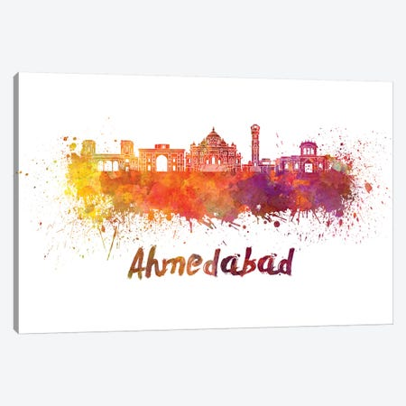 Ahmedabad Skyline In Watercolor Canvas Print #PUR5} by Paul Rommer Canvas Print