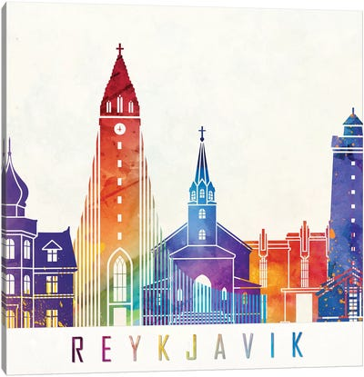 Reykjavik Landmarks Watercolor Poster Canvas Art Print