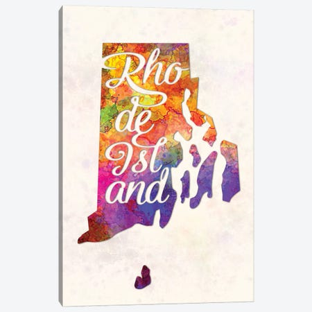 Rhode Island US State In Watercolor Text Cut Out Canvas Print #PUR602} by Paul Rommer Canvas Art