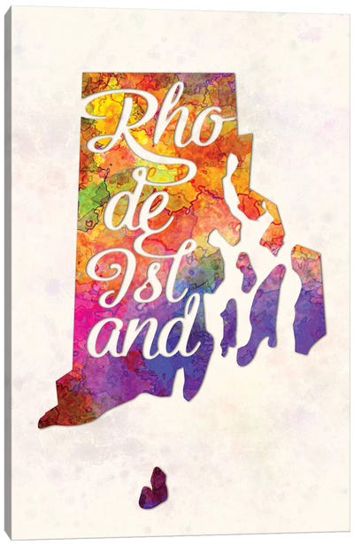 Rhode Island US State In Watercolor Text Cut Out Canvas Art Print