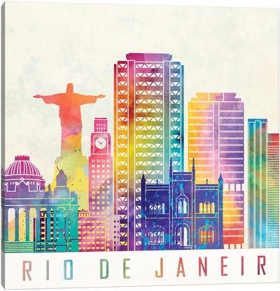Rio De Janeiro Landmarks Watercolor Poster Canvas Art Print
