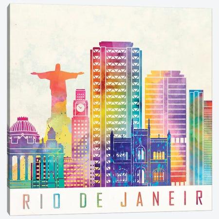 Rio De Janeiro Landmarks Watercolor Poster Canvas Print #PUR608} by Paul Rommer Canvas Art
