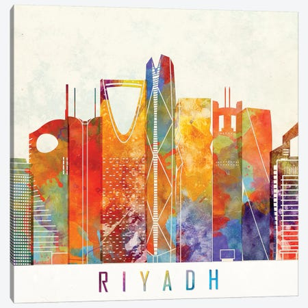 Riyadh Landmarks Watercolor Poster Canvas Print #PUR609} by Paul Rommer Canvas Wall Art