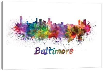 Baltimore Skyline In Watercolor Canvas Art Print