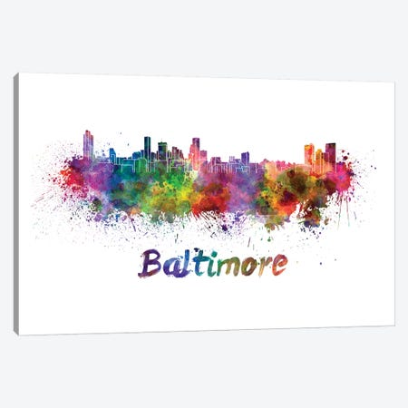 Baltimore Skyline In Watercolor Canvas Print #PUR60} by Paul Rommer Canvas Art