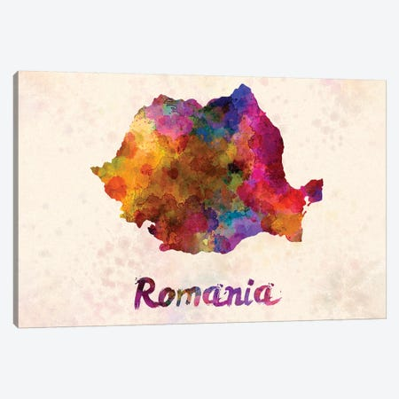 Romania In Watercolor Canvas Print #PUR611} by Paul Rommer Art Print