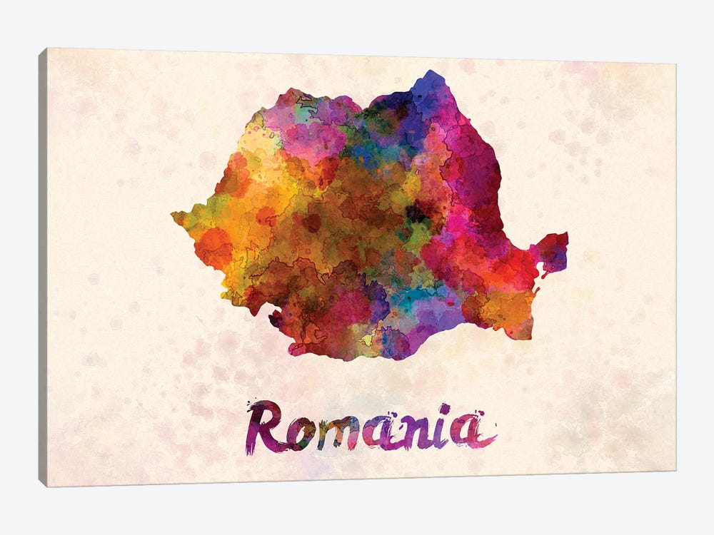 Romania In Watercolor by Paul Rommer 1-piece Canvas Art Print