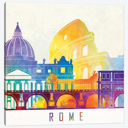Rome Landmarks Watercolor Poster Canvas Print #PUR613} by Paul Rommer Art Print