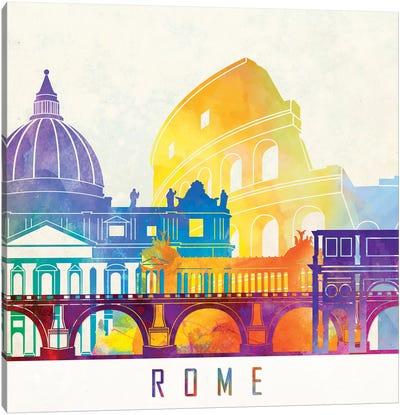 Rome Landmarks Watercolor Poster Canvas Art Print