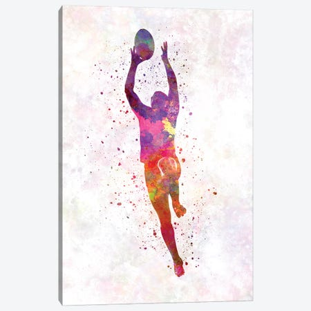 Rugby Man Player In Watercolor III Canvas Print #PUR616} by Paul Rommer Canvas Wall Art