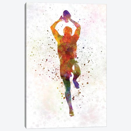 Rugby Man Player In Watercolor IV Canvas Print #PUR617} by Paul Rommer Canvas Art