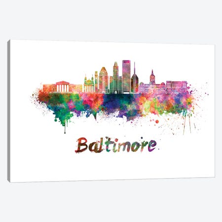Baltimore Skyline In Watercolor II Canvas Print #PUR61} by Paul Rommer Canvas Artwork