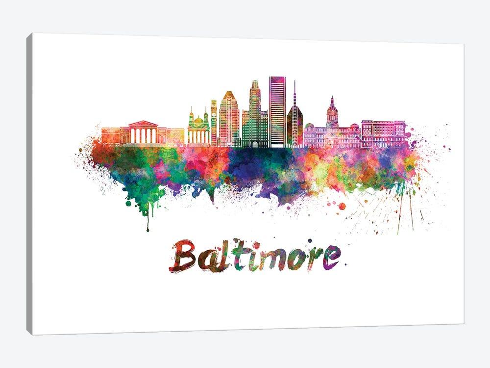 Baltimore Skyline In Watercolor II by Paul Rommer 1-piece Art Print
