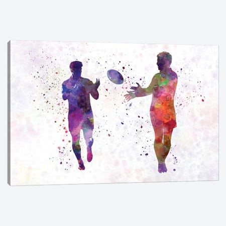 Rugby Men Players In Watercolor IV Canvas Print #PUR622} by Paul Rommer Canvas Artwork